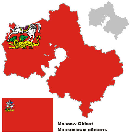 oblast: Outline map of Moscow Oblast with flag. Regions of Russia. Vector illustration.