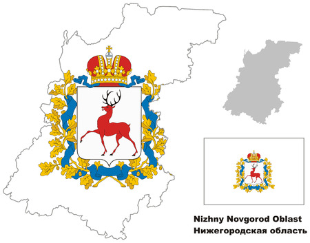Outline map of Nizhny Novgorod Oblast with flag. Regions of Russia. Vector illustration. Vector