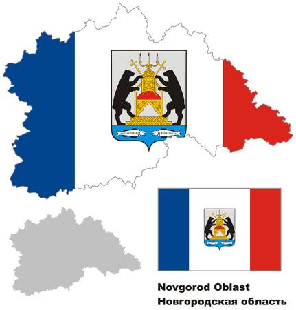 regional: Outline map of Novgorod Oblast with flag. Regions of Russia. Vector illustration. Illustration
