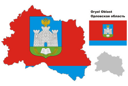 oblast: Outline map of Oryol Oblast with flag. Regions of Russia. Vector illustration. Illustration