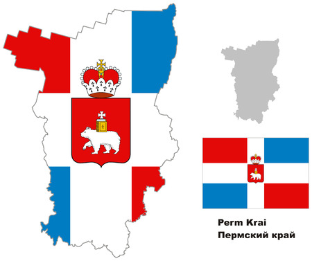 oblast: Outline map of Perm Krai with flag. Regions of Russia. Vector illustration.