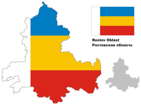 regional: Outline map of Rostov Oblast with flag. Regions of Russia. Vector illustration.
