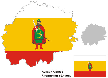 oblast: Outline map of Ryazan Oblast with flag. Regions of Russia. Vector illustration.