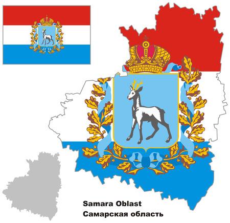 Outline map of Samara Oblast with flag. Regions of Russia. Vector illustration. Illustration
