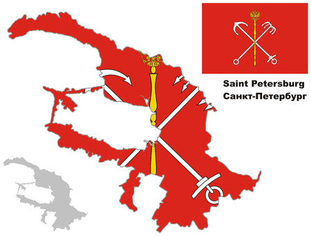 st  petersburg: Outline map of St. Petersburg with flag. Regions of Russia. Vector illustration.