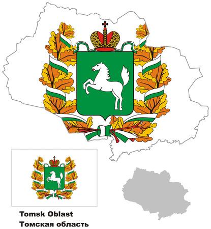 regional: Outline map of Tomsk Oblast with flag. Regions of Russia. Vector illustration. Illustration