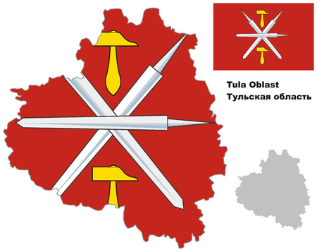 oblast: Outline map of Tula Oblast with flag. Regions of Russia. Vector illustration.