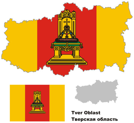 oblast: Outline map of Tver Oblast with flag. Regions of Russia. Vector illustration.