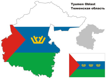regional: Outline map of Tyumen Oblast with flag. Regions of Russia. Vector illustration. Illustration
