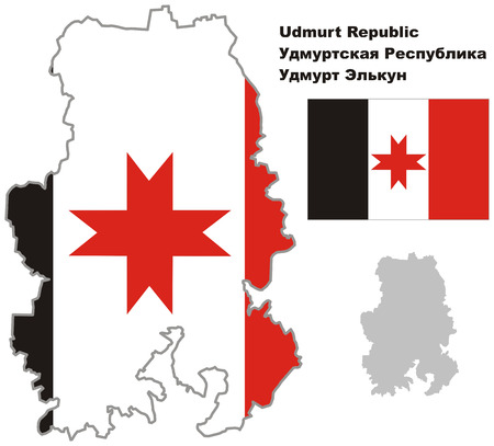 regional: Outline map of Udmurtia with flag. Regions of Russia. Vector illustration.