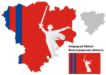 regional: Outline map of Volgograd Oblast with flag. Regions of Russia. Vector illustration.