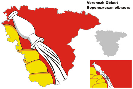 regional: Outline map of Voronezh Oblast with flag. Regions of Russia. Vector illustration.