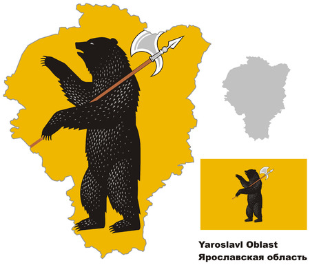 regional: Outline map of Yaroslavl Oblast with flag. Regions of Russia. Vector illustration.