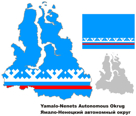 regional: Outline map of Yamalo-Nenets Autonomous Okrug with flag. Regions of Russia. Vector illustration.