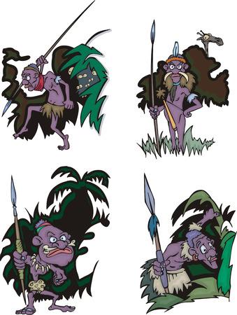 aborigines: Funny African aborigines hunters. Set of vector illustrations. Illustration