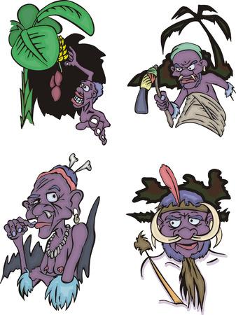 aborigines: Comic African aborigines. Set of vector illustrations.
