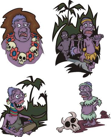 aborigines: Cartoon African aborigines. Set of vector illustrations.