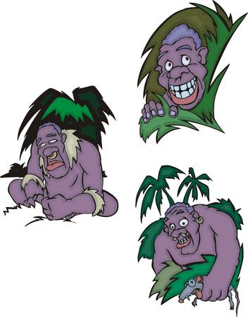 aborigines: Funny African aborigines. Set of vector illustrations.