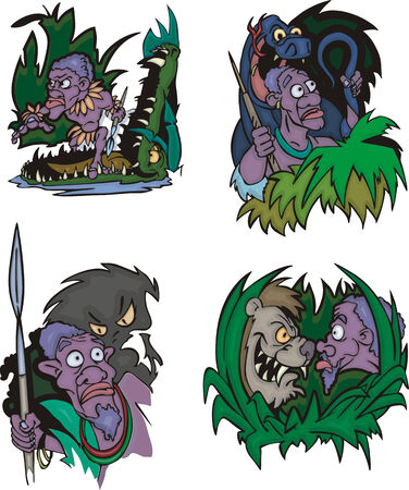 aborigines: Comic African aborigines in danger. Set of vector illustrations. Illustration