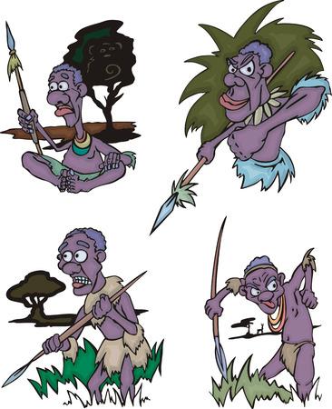 hunters: Cartoon African aborigines hunters. Set of vector illustrations.