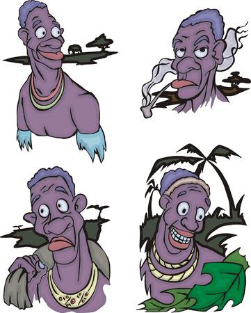aborigines: Comic African aborigines men. Set of vector illustrations. Illustration