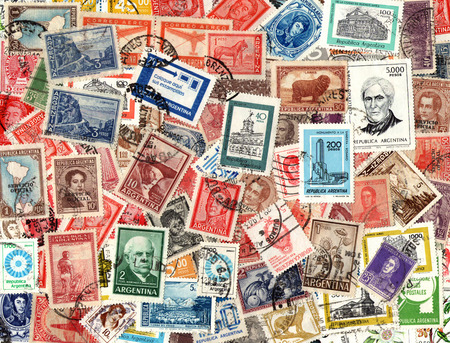 Background of the old postage stamps issued in Argentina