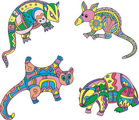 motley: Motley exotic animals. Set of ethnic vector designs.