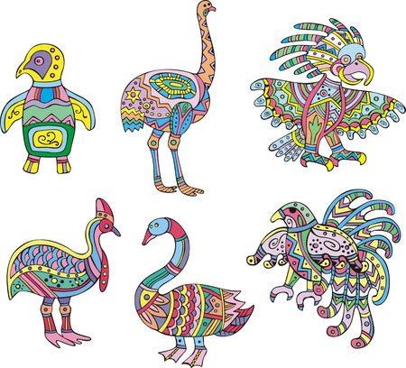 birds of paradise: Motley swan, ostrich, penguin and other birds. Set of ethnic vector designs.