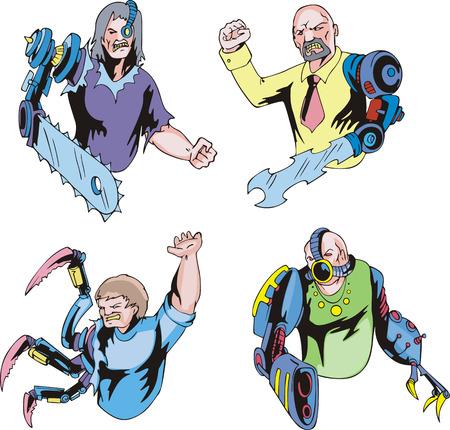 Colorful cyborgs. Set of biomechanical vector illustrations.
