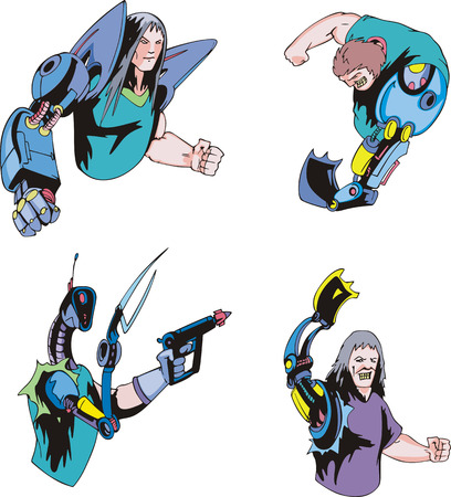 Colorful cyborgs. Set of biomechanical vector illustrations. Stok Fotoğraf - 34026543