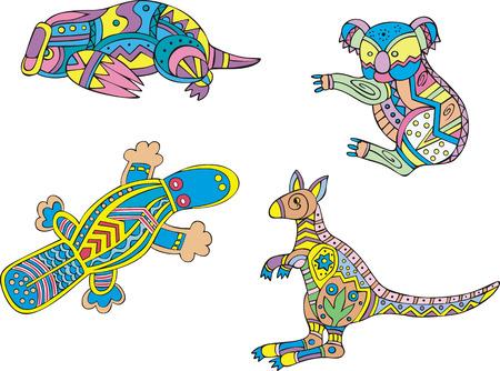 motley: Motley koala, platypus and kangaroo. Set of ethnic vector designs.