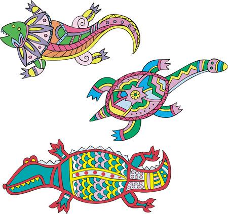 Motley lizard, turtle and crocodile. Set of ethnic vector designs. Vector