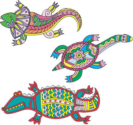 motley: Motley lizard, turtle and crocodile. Set of ethnic vector designs. Illustration