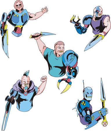 biomechanics: Colorful cyborgs. Set of biomechanical vector illustrations.