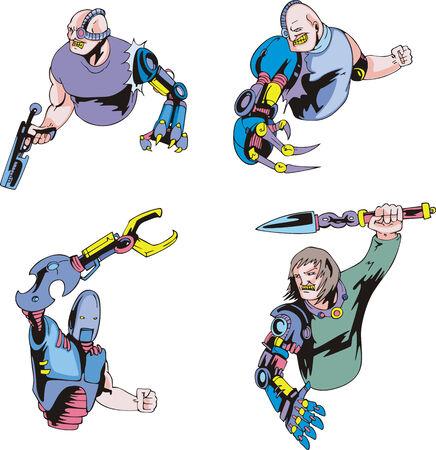 Colorful cyborgs. Set of biomechanical vector illustrations. Stok Fotoğraf - 34026563