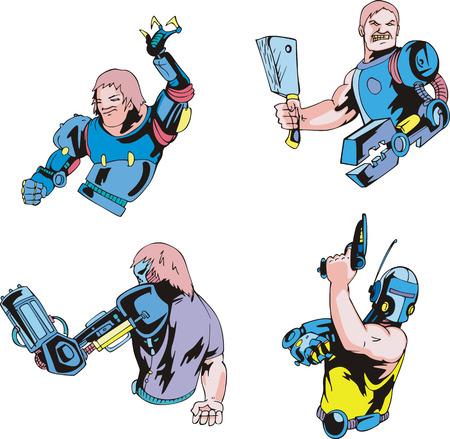 Colorful cyborgs. Set of biomechanical vector illustrations. Stok Fotoğraf - 34026565