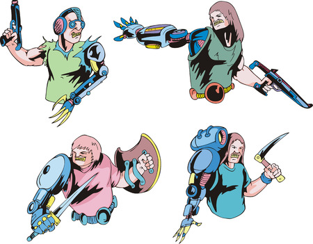Colorful cyborgs. Set of biomechanical vector illustrations.