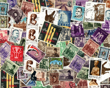 postage stamps: Background of the postage stamps issued in Egypt Editorial