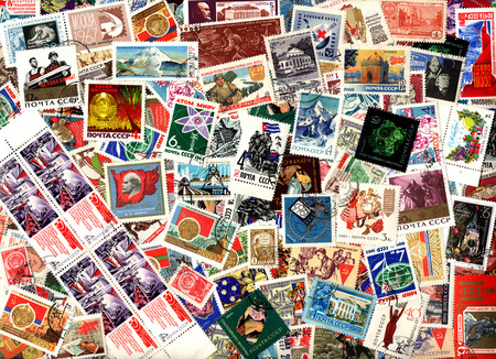 Background of the postage stamps issued in the Soviet Union (USSR). Editorial