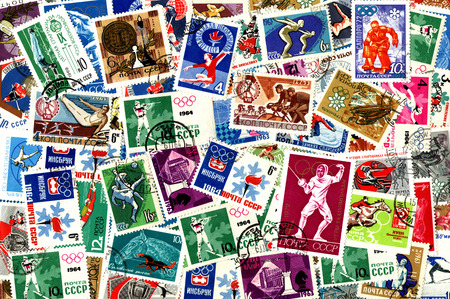 issued: Sports. Background of the postage stamps issued in the Soviet Union (USSR).