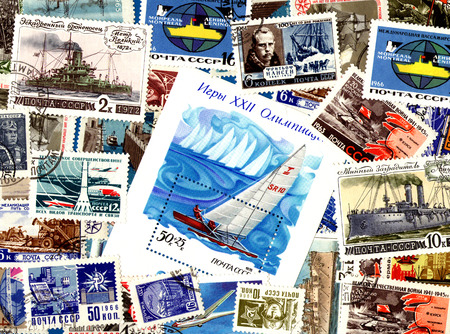 definitive: Technics. Background of the postage stamps issued in the Soviet Union (USSR). Stock Photo