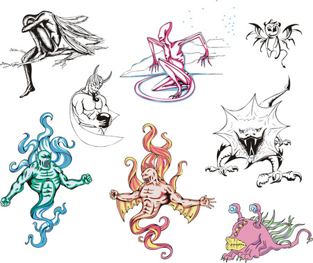 miscellaneous: Huge set of miscellaneous monster. Black and white and color vector illustrations.