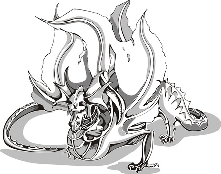 mythic: Black and white sketch of a dragon. Vector illustration. Illustration