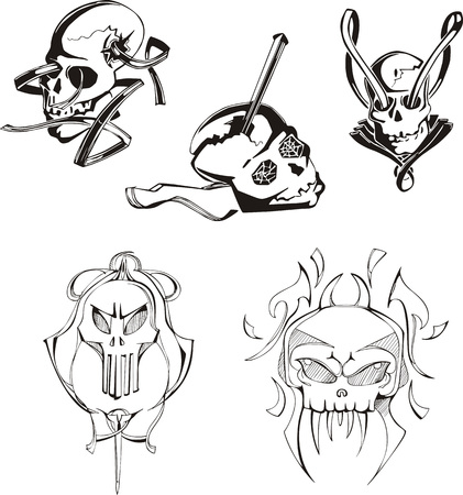 miscellaneous: Set of miscellaneous skulls and boneheads. Vector Illustrations.