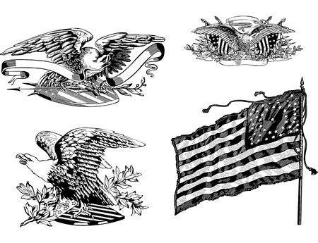 emblematic: Set of U.S. eagles plus old U.S. historical flag. Vector illustrations. Illustration