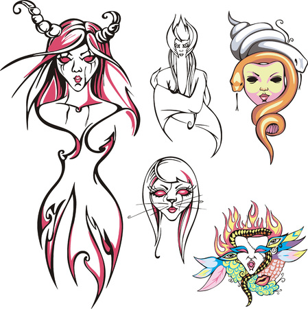 medusa: Set of fantasy female characters. Cat woman, witch, Medusa Gorgon, etc. Vector illustrations.