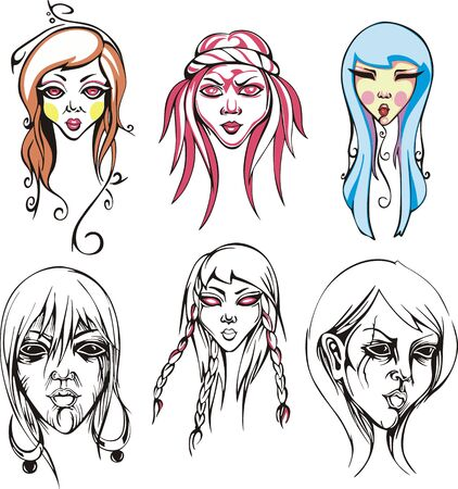 odd: Odd female heads and portraits of young girls. Vector illustrations.