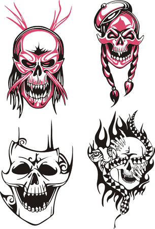 incubus: Set of horrible skulls and bloody boneheads. Vector illustrations.