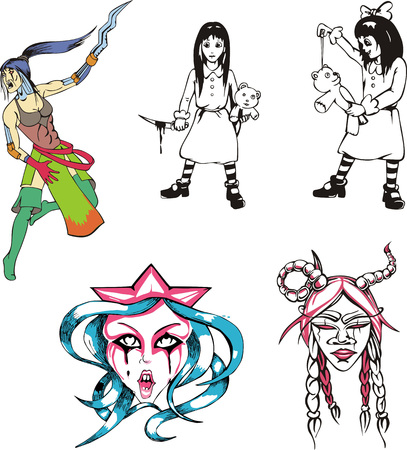 incubus: Set of horror and nightmare girls. Vector illustrations.