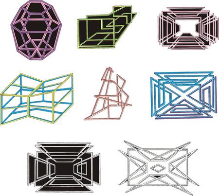 dingbat: Set of geometrical decorative 3D figures and mazes. Vector illustrations. Illustration